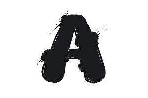 Blot letter A black and white vector illustration