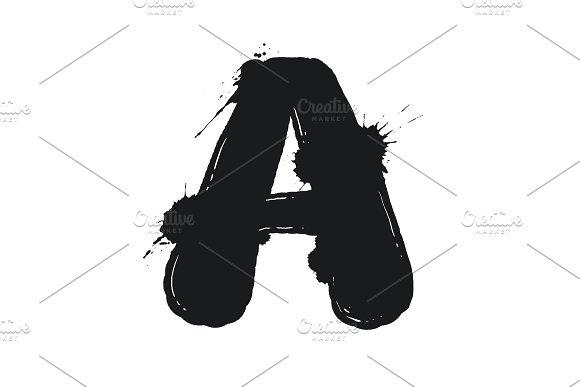 Blot letter A black and white vector illustration