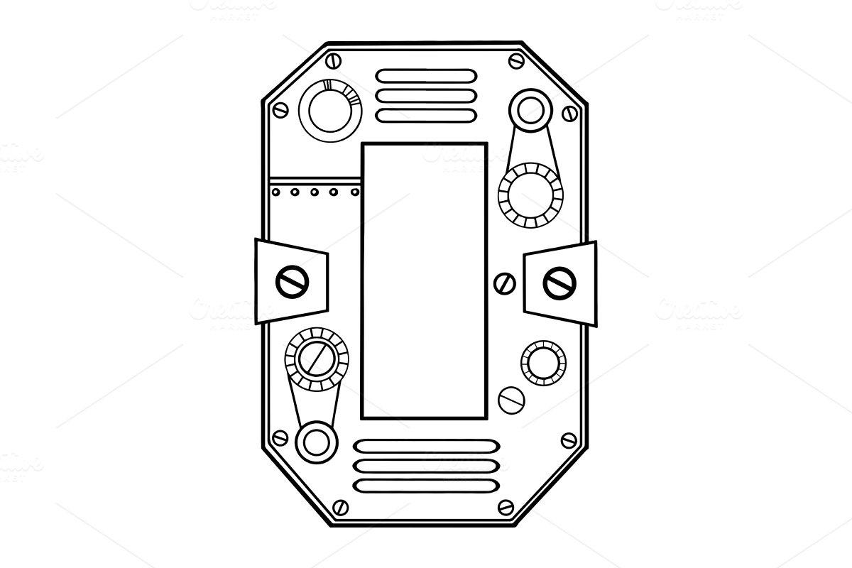 Mechanical number 0 engraving vector illustration
