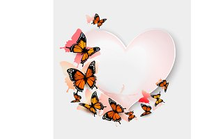 Greeting card with butterfies.Vector