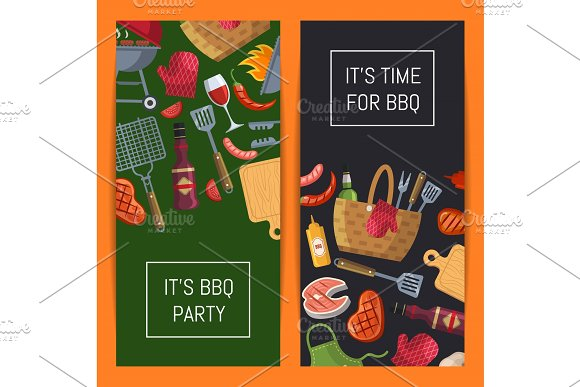 Barbecue Or Grill Elements Banner Templates