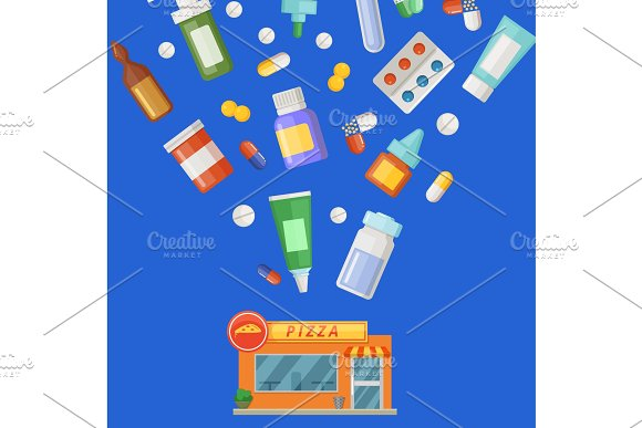 Vector concept illustration with medicines, potions and pills