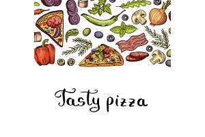 Vector cooking pizza background with place for text