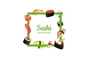 Vector cartoon sushi types