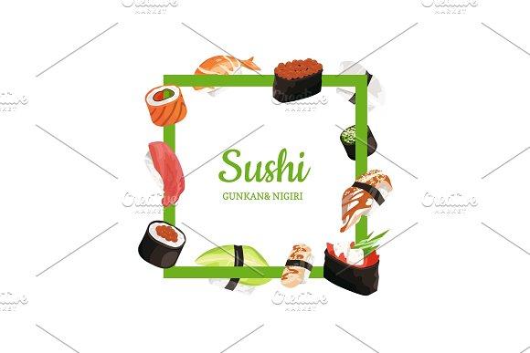 Vector Cartoon Sushi Types