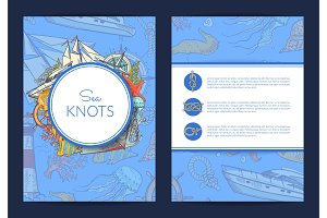 Vector card or brochure template with colored and sketched sea elements