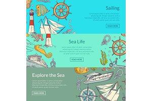 Vector sketched sea horizontal banner templates