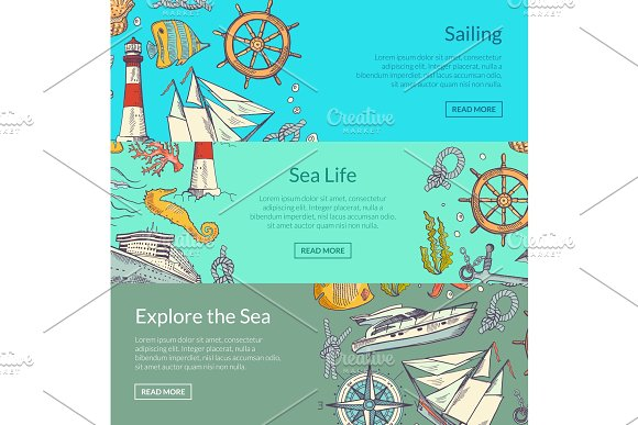Vector Sketched Sea Horizontal Banner Templates