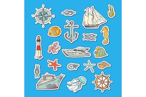 Vector colorful sketched sea elements stickers