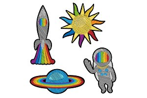 Space Embroidery Patch Set