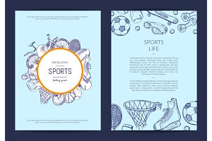 Vector hand drawn sports equipment fitness gym