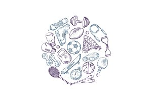 Vector hand drawn sports equipment elements circle concept illustration