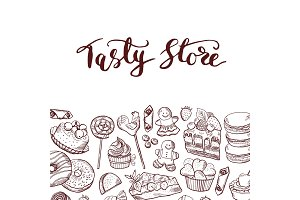 Vector hand drawn sweets shop or confectionary