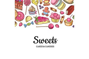 Vector hand drawn colored sweets shop or confectionary background