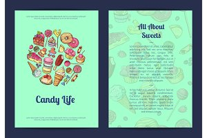 Vector hand drawn sweets, pastry shop or confectionary