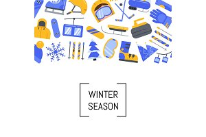 Vector flat style winter sports equipment and attributes