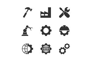 Manufacturing black icons