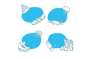 Vector hand drawn winter sports equipment stickers