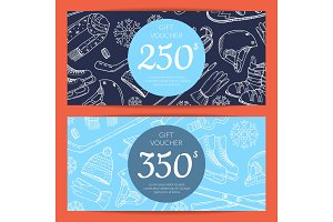 Vector hand drawn winter sports equipment gift card