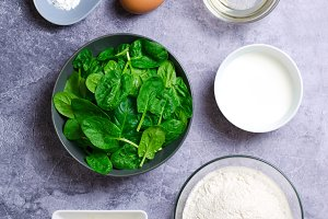 Ingredients For Preparation of Spinach and Feta Muffins