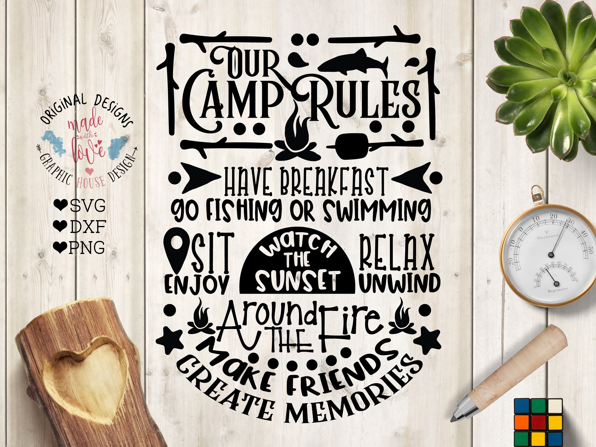 Our Camp Rules Cut File Printable Illustrations