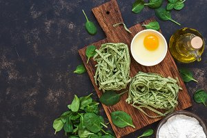 Raw green pasta with spinach