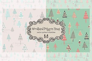 Woodland Polygon Tree Vector Pattern