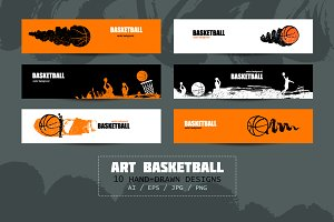 Art basketball/Sport banners/sketch