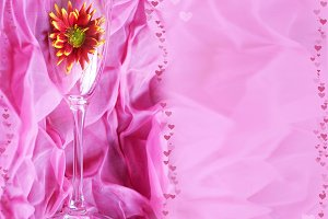 Flower in glass of champagne. Card