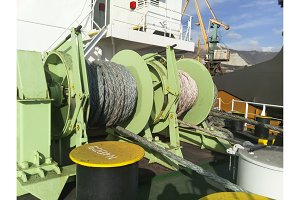 Babina with a sea mooring rope. Mooring on the ship