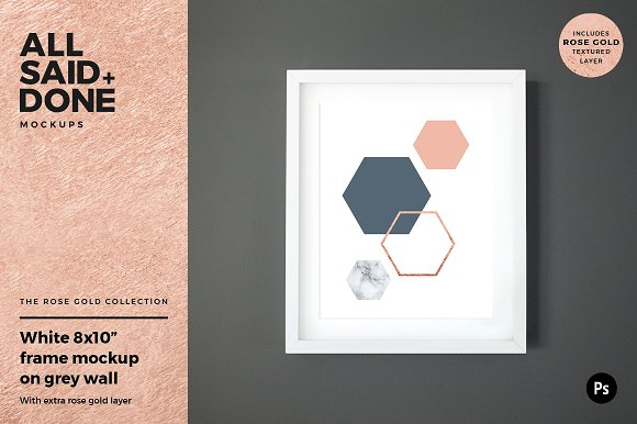 8x10 white frame on grey wall ~ Product Mockups ~ Creative Market