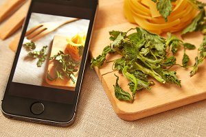 Taking photo of raw pasta with smart