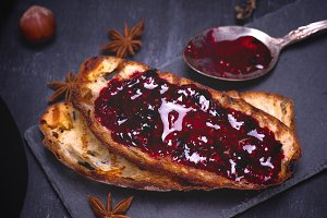 white bread with raspberry jam