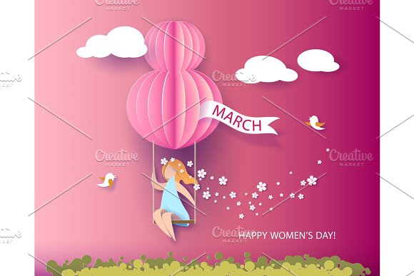 Card For 8 March Womens Day Woman On Teeterboard