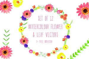 Watercolour Flowers & Wreath