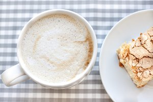 morning cappuccino coffee and cake
