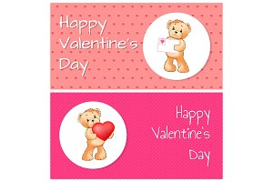 Happy Valentines Day Set, Vector Illustration