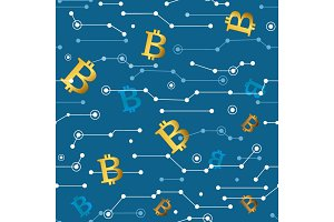 Lines and Bitcoins Seamless Pattern. Vector Illustration, Cryptocurrency Financial Items.