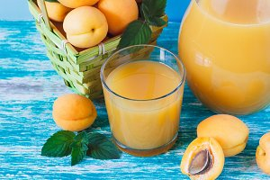 Apricot juice and fruits