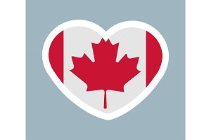 Cute Sticker Canadian Flag Vector Illustration