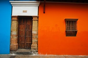 Orange and Blue Colonial Wall