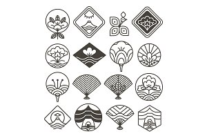 Japanese Monochrome Icons Set with Ethnic Motifs