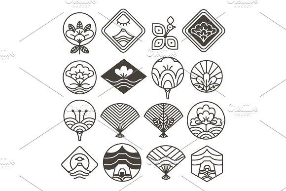 Japanese Monochrome Icons Set With Ethnic Motifs