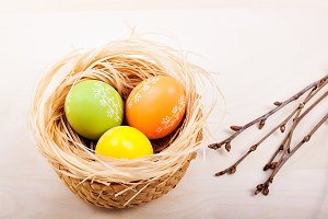 colored easter eggs in nest