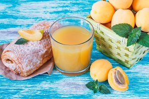 Apricots, juice, puff