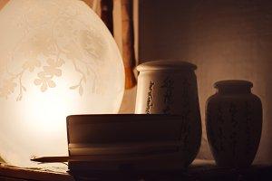 Jars of Chinese tea , night light