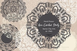 Hand Drawn Lace Doilies AI + PNG