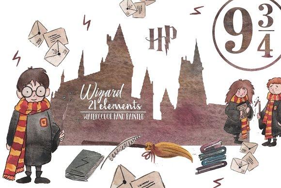 Watercolor Wizard Elements Set