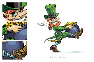 Leprechaun stealing Pot of Coins