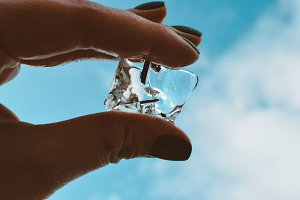 Piece of transparent ice